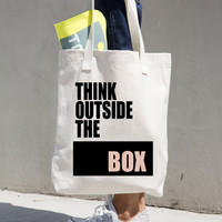 Think Outside The Box Tote Bag - Canvas Tote Bag - Cotton Tote Bag - American Apparel Tote Bag