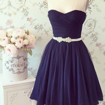 Sweetheart Prom Dress,Black Prom Dresses,Short Evening Dress