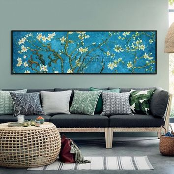 Vincent Van gogh oil painting On Canvas Flower painting Almond Blossom Reproduction blue Large Wall Pictures home Decor cuadros abstractos