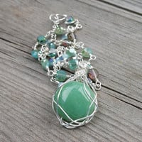 Green Aventurine Pendant Necklace, Wire-wrapped glass bead chain with gemstone pendant