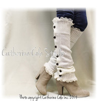 Button down cream Leg warmers for boots  legwarmers lace leg warmers womens knit leggings Catherine Cole Studio LW15
