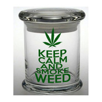 Keep Calm Smoke Weed Stash Jar Cannabis Container Medical Marijuana Cross Bong Ganja Hemp Hippy MMJ Colorado California