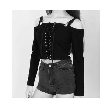 Long Sleeve Strap Black Gothic Tops