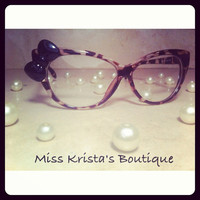 Hello kitty glasses with leopard cat eye frames vintage retro cheetah bow sunglasses