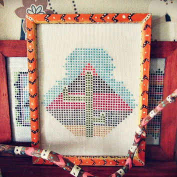 Boho Modern Cactus Picture - Cross Stitched Framed - Aztec Inspired Wall Decor - Bohemian Home Decor - Hippie Room Decor - OOAK
