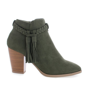 Issey Khaki By Delicious, Western Tassel Stacked High Heel Ankle Boots