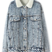 ROMWE | ROMWE Fake Pockets Buttoned Denim Coat, The Latest Street Fashion