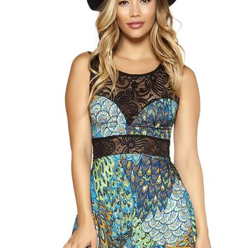 Printed Flared Dress with Lace