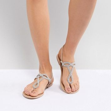 New Look Leather Look Embellished Toe Post Flat Sandal at asos.com