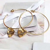 DIOR Fashion New Love Heart Circle Long Earring Women Accessories Golden