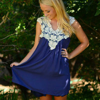 Lace to the Finish Dress - Blue