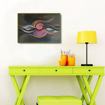 Black Abstract  Large Art Print of Original Pastel Painting, Decorative Modern Wall decor. Colorful Giclee print, Living room decor