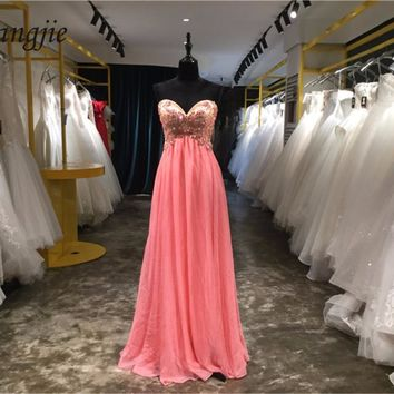 A-Line Prom Dresses 2018 Sweetheart Sleeveless Lace-Up Floor Length Chiffon and Beading Crystals Evening Party Gown Custom Made