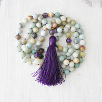 108 Knotted Mala Yoga Mala Necklace Zen Jewelry Buddhist Necklace Amazonite Amethyst