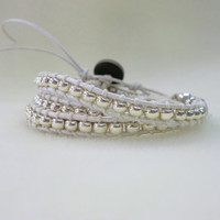 WrapLet Silver Japanese Seed Beads on Silver by StarBurstJewels