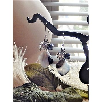 One of a Kind Sterling Silver Black & White Banded Agate Crystal Cluster Dangle Earrings
