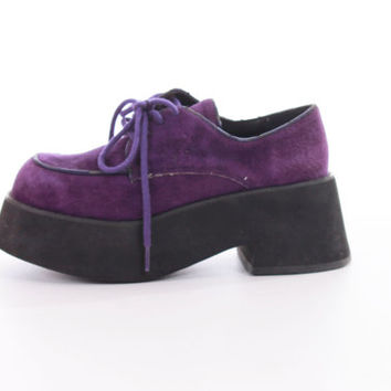 90s Purple Suede Platform Shoes Black Chunky Lace Up Oxfords Club Kid 1990's Goth Footwear Womens Size US 6 UK 4 EUR 36-37