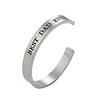 Jewelady 8MM Fathers Gifts Bracelet Stainless Steel Cuff Bangle Engraved Message for Dad