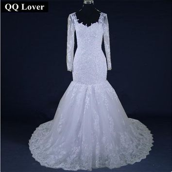 QQ Lover 2018 New Mermaid Wedding Dresses Train Long Sleeve Customized  Long Lace Bridal Gown