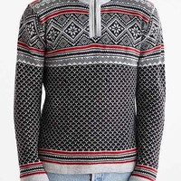 Allover Pattern Mock-Zip Sweater- Grey