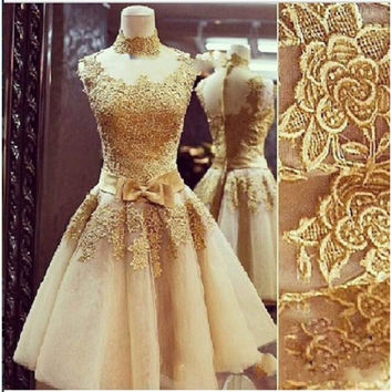 2016 Vintage Gold Lace Prom Dresses Short Ball Gown Formal Organza High Neck Women Evening Gowns Vestido De Fiesta Plus Size