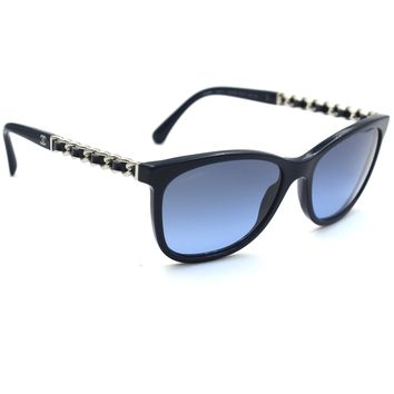 Chanel 5260 Q Square Sunglasses Navy Blue Frame with Blue Gradient Lenses