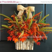 WREATHS ON SALE fall wreath fall autumn wreaths hanging floral container birch bark vases front door decor outdoor, Halloween wreaths
