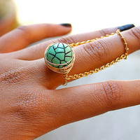 Gold (or Silver) Mint Green Double Chain Ring