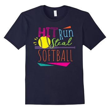 Cool 80's Hit Run Steal Softball Girls Summer Sports Shirt