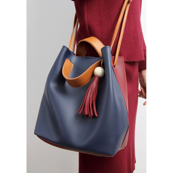Faux Leather Colorblock Bucket Bag With Tassel Charm