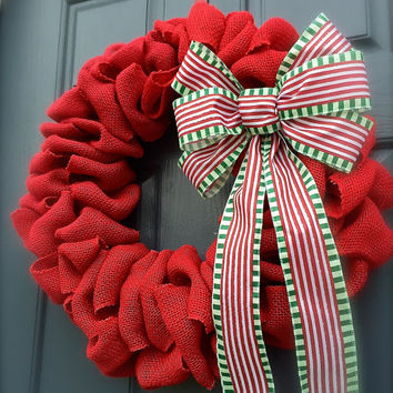 Red Burlap Christmas Wreath Holiday Burlap Decor Red Door Wreaths Stripes Classic Wreath