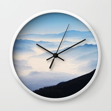 Inhale Wall Clock by Mixed Imagery