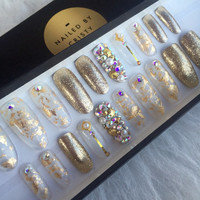 Gold Foil Glitter Swarovski Press On Nails | Mermaid Bling Nails | Fake False Glue On Nails | Any Shape