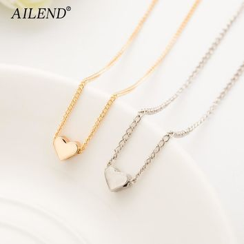 AILEND New Hot Trendy Tiny Heart Short Pendant Necklace Women Gold Chain Lover Lady Girl Gifts Bijoux Fashion Jewelry