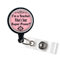 Teacher Super Power Retractable Badge Holder, Id Badge Reel, ID Badge Holders