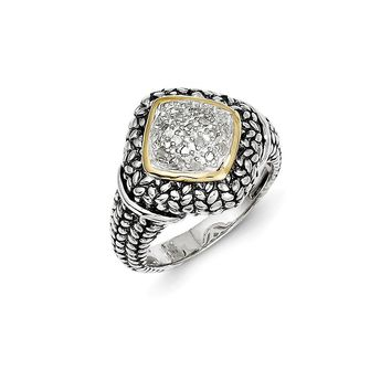 Antique Style Sterling Silver with 14k Yellow Gold 1/10 ct. Diamond Ring