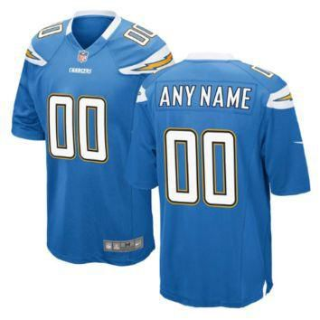 Nike Los Angeles Chargers Customized Electric Blue Stitched Elite Men's NFL Jersey
