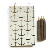 Handmade journal, decorative notebook, diary, sketchbook notepad, personal jotter, blank unlined pages, laminated binder, gold anchors white