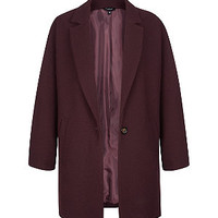 Burgundy Textured Single Button Boyfriend Coat