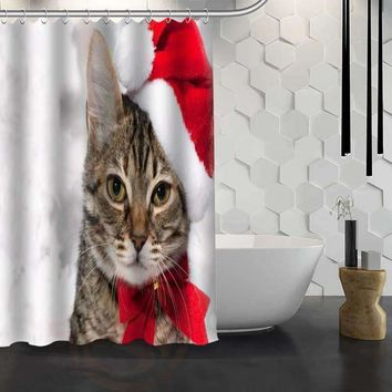 Hot Sale Custom Christmas Animal Dog Cat Shower Curtain Waterproof Fabric Bath Curtain for Bathroom F#Y1-17