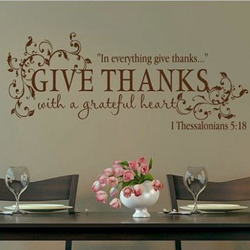 Bible verse Give Thanks With a Grateful Heart Thanksgiving Wall Quote Vinyl Decal