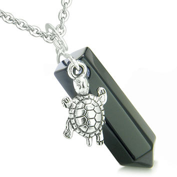 Amulet Turtle Lucky Charm Crystal Point Black Agate Gemstone Spiritual Pendant 18 Inch Necklace
