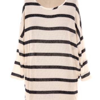 Miss Duet Navy/Metallic Round Neck Striped Tunic