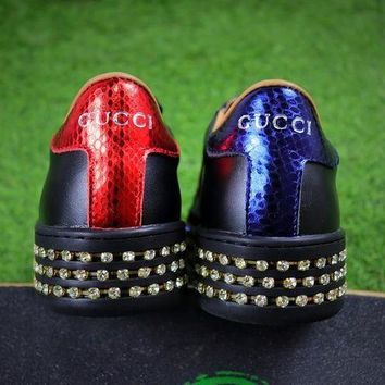 ONETOW Sale Gucci Ace With Austrian Drilling Leather Sneaker Women Shoes