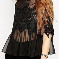 Black High Neck Lace Crochet Detail Sheer Blouse