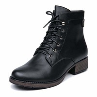 Round Toe Women Lace up Ankle Boots