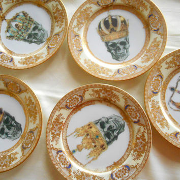 Gorgeous Skull Crown Plates, Vintage Meito Ritz. Goth Plates, Upcycled Steampunk Dishes, Skeleton Dinnerware, Rockabilly Plates, Altered