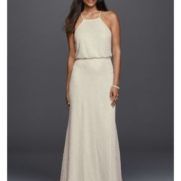 Halter Sheath Casual Wedding Dress with Beading - Davids Bridal