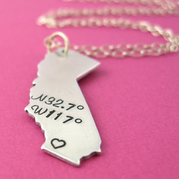 Personalized State Necklace - Latitude and Longitude Coordinates Necklace - Custom State Necklace
