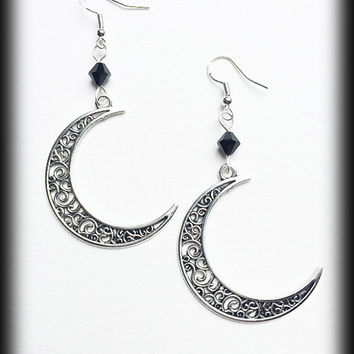 Crescent Moon Earrings, Filigree Silver, Celestial Jewelry, Gothic Wiccan Jewelry, Alternative Earrings, Gothic Jewelry, Gothic Gift, Pagan